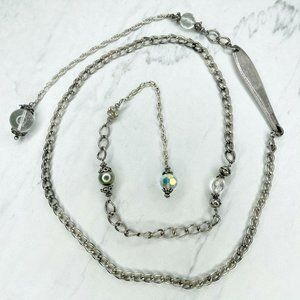 Silver Tone Marble Crystal Spoon Chain Belt